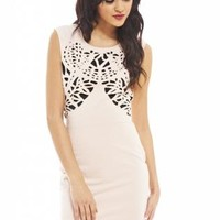 Nude Laser Cut Out Bodycon Dress