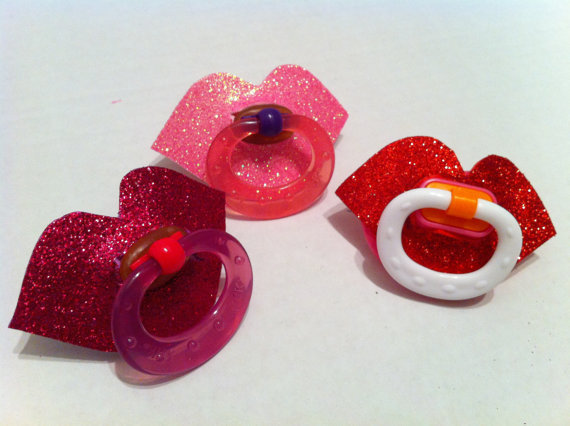 Sparkle Lips Baby Pacifier by TinkerTwirlsandTies on Etsy