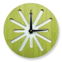 10in Green Splat Bamboo Wall Clock by pilotdesign on Etsy