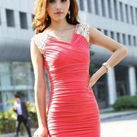 Red Day Dress - HEGO Sexy V-Neck Dress CZ002R | UsTrendy