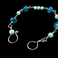 Blue Bracelet  Dragon Veins Agate and Aquamarine by Arthlin