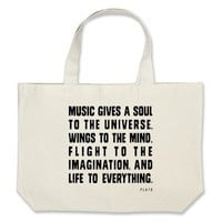 Music Gives A Soul To The Universe Tote Bag from Zazzle.com