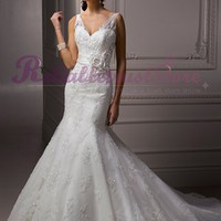 White A-line Straps Lace Beach Wedding Dress-$252.96-ReliableTrustStore.com