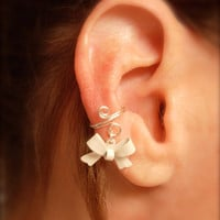 Ear Cuff Dainty and Feminine Silver Cuff with White by jhammerberg