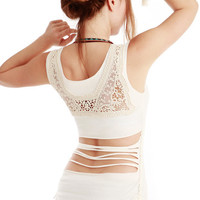 White Women top with upper back Crochet/lace detail by Shovava