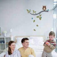 Owl on a Branch - Nursery Wall Art Decals