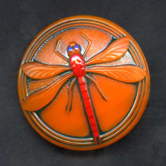 Orange Painted Czech Glass Dragonfly Button XLG by picklevalentine