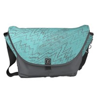 Aqua and Grey Zigzag Print Messenger Bag
