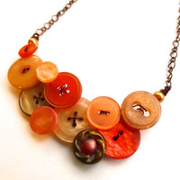 Rustic Peach Shimmer Button Necklace with Copper