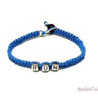Bright Blue Run Bracelet, Macrame Hemp Jewelry for Runners, Made to Order