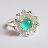 Mood Ring Sterling Silver 925 - 6 mm - High Quality - Daisy, Flower Mood Ring - adjustable