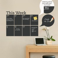 Weekly Planner Chalkboard Calendar Modern Vinyl by SimpleShapes