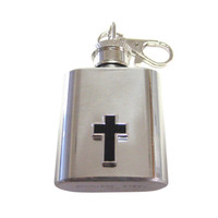 Black Cross Pendant 1 oz. Stainless Steel Key Chain Flask