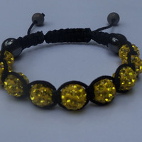 Yellow Bling Shamballa Bracelet With Pave Shamballa Rhinestone Beads, Hematite Crystal Gun Metal Beads And Black Macramé Cord