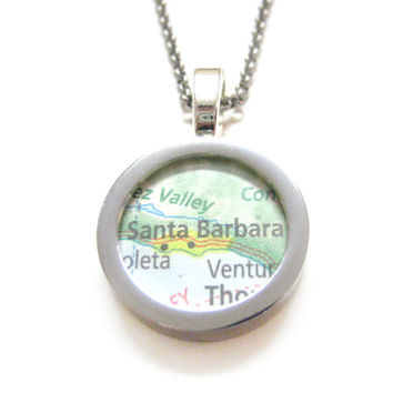 Santa Barbara California Map Pendant Necklace