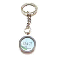 Maui Hawaii Map Pendant Keychain