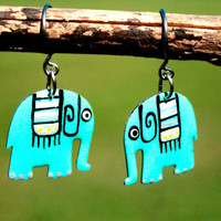 Elephant earrings handpainted earrings by HorakovaDesigns on Etsy
