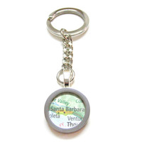 Santa Barbara California Map Pendant Keychain