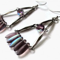 Chandelier Earrings Purple Swarovski Crystals Silver Artfire.com | LittleApples - Jewelry on ArtFire