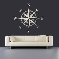 Wall Decal Vinyl Sticker Decals Art Decor Design Compass Rose Nautical Navigate Ship Ocean Beach Living Room Bedroom Gift Dorm (r438)