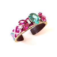 Magenta Pink Turquoise Friendship Cuff Bracelet Rhinestone Colorful One of a Kind Boho Spring Summer Handmade