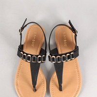 Bamboo Closer-03 Burnish Chain Slingback Flat Sandal