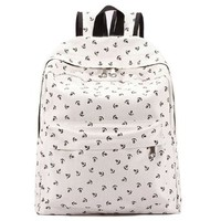 Nautical Anchor Print White Backpack School Shoulder Bag