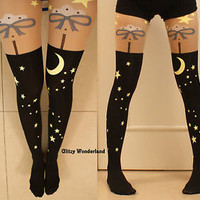Black moon & star tattoo tights stockings sweet cute lolita goth emo cosplay egl