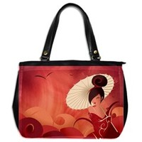 Sakura Asian Geisha Oversize Office Handbag (One Side)