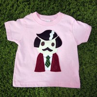 Handmade Felt Appliqued Ron Burgundy Anchorman Toddler Shirt in Pink