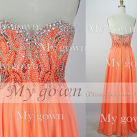 Sweetheart with Beads Crystal Orange Chiffon Prom Dress, Wedding Dress, Evening Gown,Dresses,formal dress