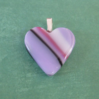 Pastel Heart Pendant, Purple, Pink, and White Striped Heart- Cutie Pie - 4553 - 2