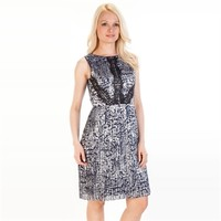 Adrianna Papell Printed Dress with Pleated Skirt at Von Maur