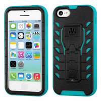 TUFF Treadz Hybrid Stand Case for Apple iPhone 5C - Black/Teal