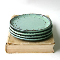Dessert Plates - Set of 4 - Aqua Mist or Color of Your Choice - Handmade Stoneware - French Country Dinnerware - Made to Order
