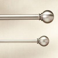 PB STANDARD BALL FINIAL & DRAPE ROD - PEWTER FINISH