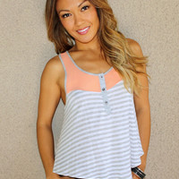 'Coronado' Stripes and Mesh Tank
