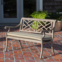 Aged Teak Wood Finish Aluminum Patio Bench
