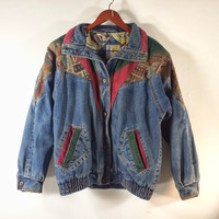 Vintage Jean Jacket - Over-sized Women's Denim Jacket - Color Block Tapestry - SZ M