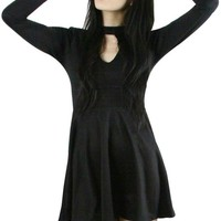 Black Mid Thigh Length Collared Dress
