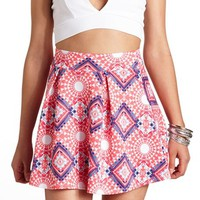 AZTEC PRINT PLEATED SKATER SKIRT