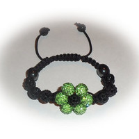 Green & Black Flower Shamballa Bracelet With Pave Clay Shamballa Rhinestone Beads, Hematite Crystal Beads And Black Macramé Cord