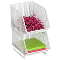 The Container Store > White Mesh Mini Stacking Bin