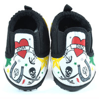 ME-In-Mind | Tattoo slip-on baby shoes with Mom & Dad tattoo's.