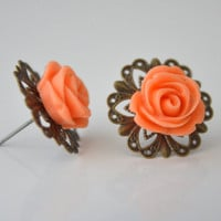 coral cabochon 14 mm earring post antique brass style by sestras