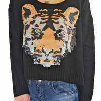 Black Sequined Tiger Sweater