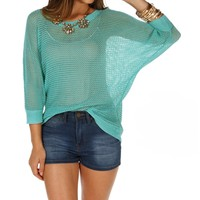 Pre-Order Teal Open Knit Button Back Top