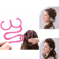 HuaYang Magic Pink Hair Tie Twist Braid Tool Holder Clip Hair Styling Tool