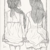 Forever Friends Art Print from Original illustration by Sian Whitehall, love, friendship, girls,