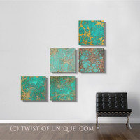 Oxidized Copper Wall Art, - Large 5 square panel ORIGINAL Abstract Painting- Copper, Green, rust, brown, red, metal, orange
